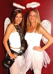 Glam Slam shot girls in angel costumes